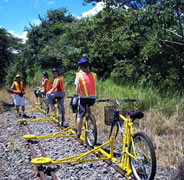 Four Riders one Standing while on a railbike tour in Costa Rica